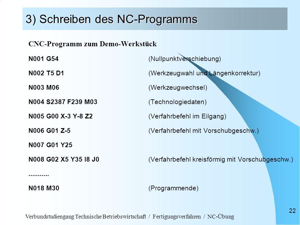 Verbundstudiengang Technische Betriebswirtschaft / Fertigungsverfahren / NC-Übung 22 3) Schreiben des NC-Programms CNC-Programm zum Demo-Werkstück N00