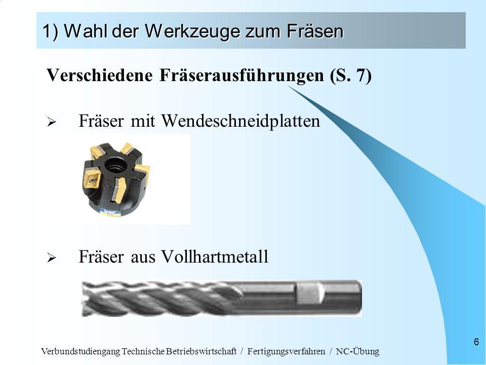 Verbundstudiengang Technische Betriebswirtschaft / Fertigungsverfahren / NC-Übung 6 1) Wahl der Werkzeuge zum Fräsen Verschiedene Fräserausführungen (
