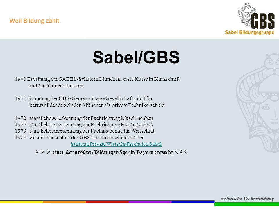 Sabel/GBS 1900 Eröffnung der SABEL-Schule in München, erste Kurse in Kurzschrift und Maschinenschreiben 1971 Gründung der GBS-Gemeinnützige Gesellscha