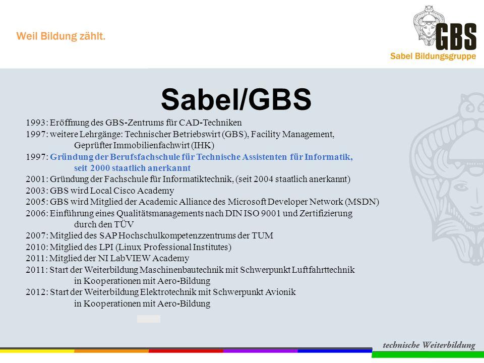 Sabel/GBS 1993: Eröffnung des GBS-Zentrums für CAD-Techniken 1997: weitere Lehrgänge: Technischer Betriebswirt (GBS), Facility Management, Geprüfter Immobilienfachwirt (IHK) 1997: Gründung der Berufsfachschule für Technische Assistenten für Informatik, seit 2000 staatlich anerkannt 2001: Gründung der Fachschule für Informatiktechnik, (seit 2004 staatlich anerkannt) 2003: GBS wird Local Cisco Academy 2005: GBS wird Mitglied der Academic Alliance des Microsoft Developer Network (MSDN) 2006: Einführung eines Qualitätsmanagements nach DIN ISO 9001 und Zertifizierung durch den TÜV 2007: Mitglied des SAP Hochschulkompetenzzentrums der TUM 2010: Mitglied des LPI (Linux Professional Institutes) 2011: Mitglied der NI LabVIEW Academy 2011: Start der Weiterbildung Maschinenbautechnik mit Schwerpunkt Luftfahrttechnik in Kooperationen mit Aero-Bildung 2012: Start der Weiterbildung Elektrotechnik mit Schwerpunkt Avionik in Kooperationen mit Aero-Bildung