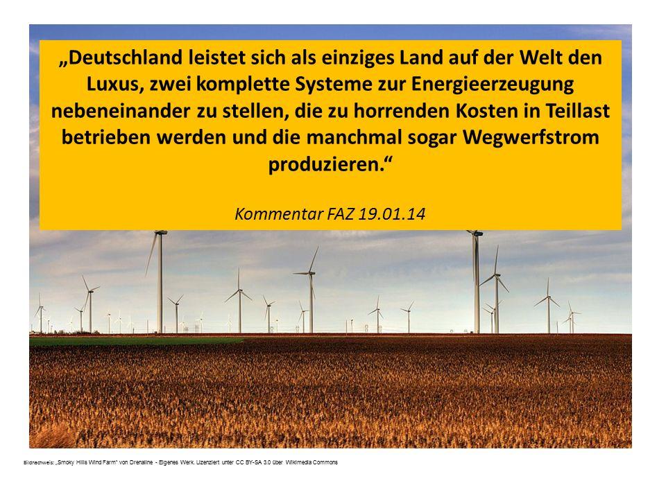 """Bildnachweis: """" Smoky Hills Wind Farm"""" von Drenaline - Eigenes Werk. Lizenziert unter CC BY-SA 3.0 über Wikimedia Commons """"Deutschland leistet sich al"""