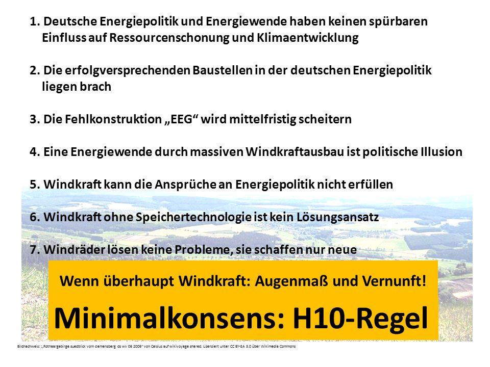 Wenn überhaupt Windkraft: Augenmaß und Vernunft! 1. Deutsche Energiepolitik und Energiewende haben keinen spürbaren Einfluss auf Ressourcenschonung un