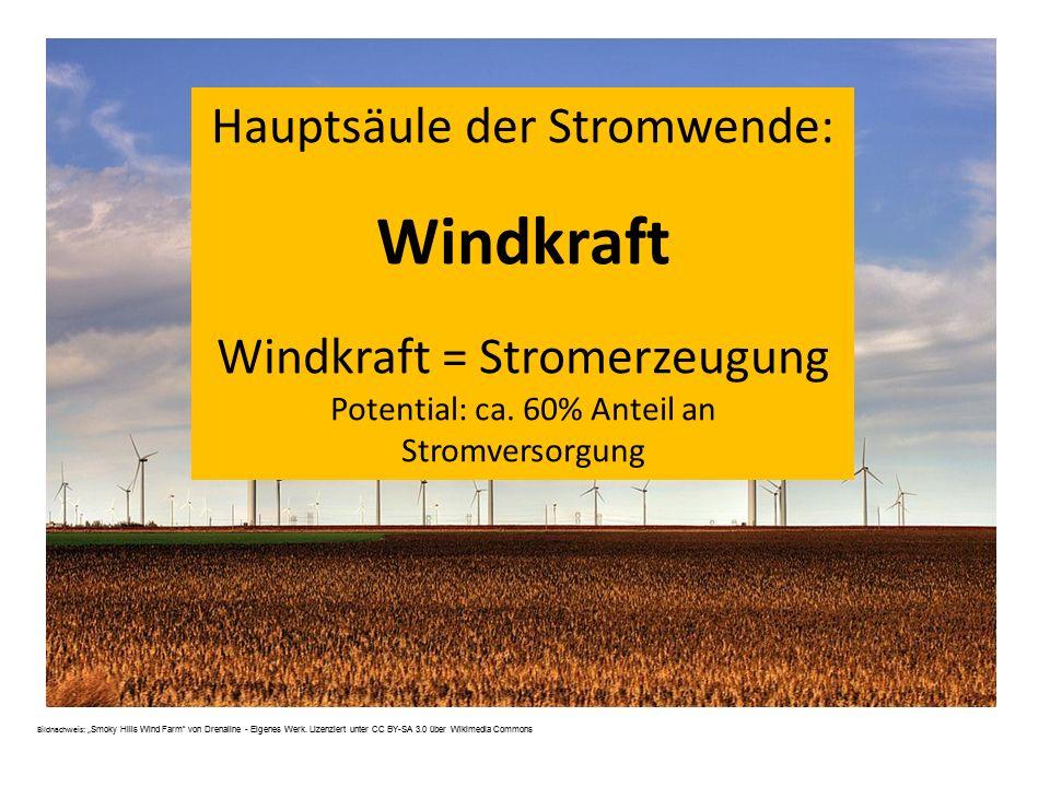 """Hauptsäule der Stromwende: Windkraft Windkraft = Stromerzeugung Potential: ca. 60% Anteil an Stromversorgung Bildnachweis: """" Smoky Hills Wind Farm"""" vo"""