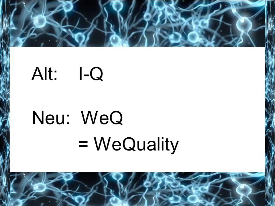 Alt: I-Q Neu: WeQ = WeQuality
