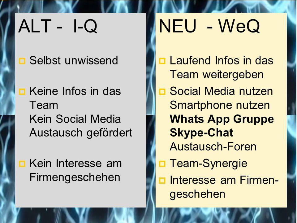 ALT - I-Q  Selbst unwissend  Keine Infos in das Team Kein Social Media Austausch gefördert  Kein Interesse am Firmengeschehen NEU - WeQ  Laufend Infos in das Team weitergeben  Social Media nutzen Smartphone nutzen Whats App Gruppe Skype-Chat Austausch-Foren  Team-Synergie  Interesse am Firmen- geschehen