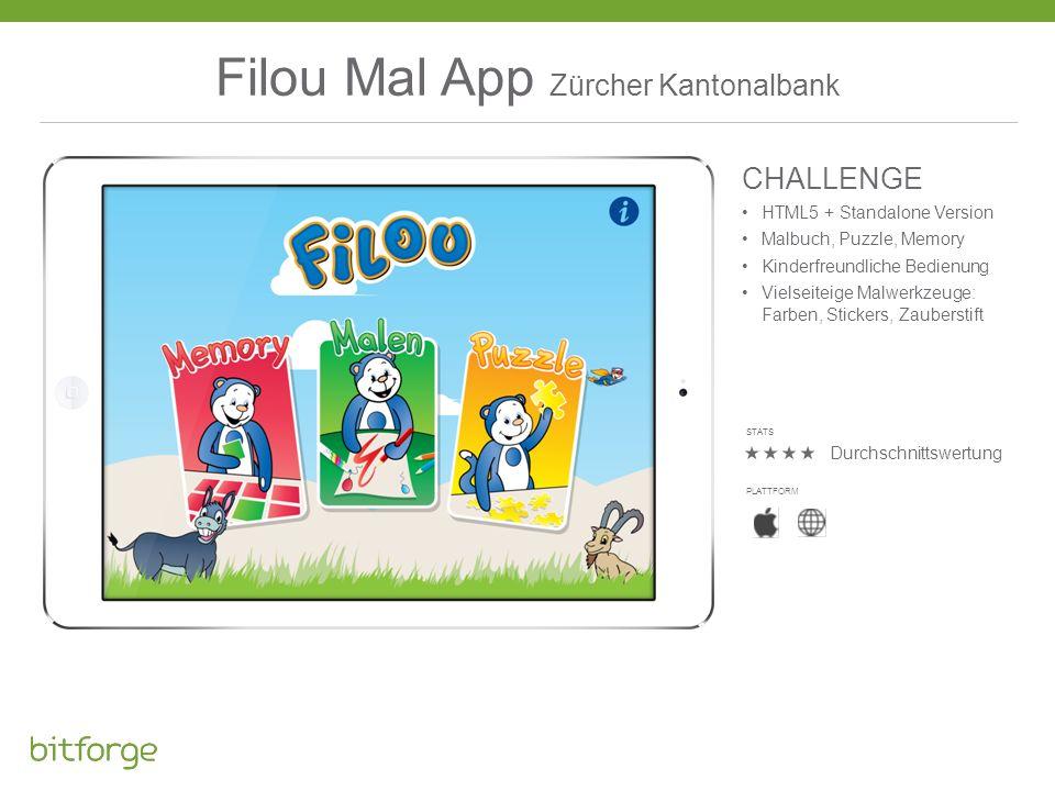 Filou Mal App Zürcher Kantonalbank CHALLENGE HTML5 + Standalone Version Malbuch, Puzzle, Memory Kinderfreundliche Bedienung Vielseiteige Malwerkzeuge:
