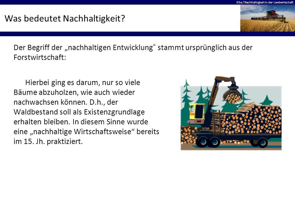 03a / Nachhaltigkeit in der Landwirtschaft Was bedeutet Nachhaltigkeit? Hierbei ging es darum, nur so viele Bäume abzuholzen, wie auch wieder nachwach