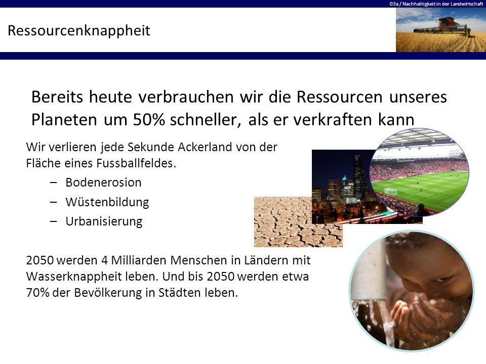 03a / Nachhaltigkeit in der Landwirtschaft Ressourcenknappheit Wir verlieren jede Sekunde Ackerland von der Fläche eines Fussballfeldes. –Bodenerosion
