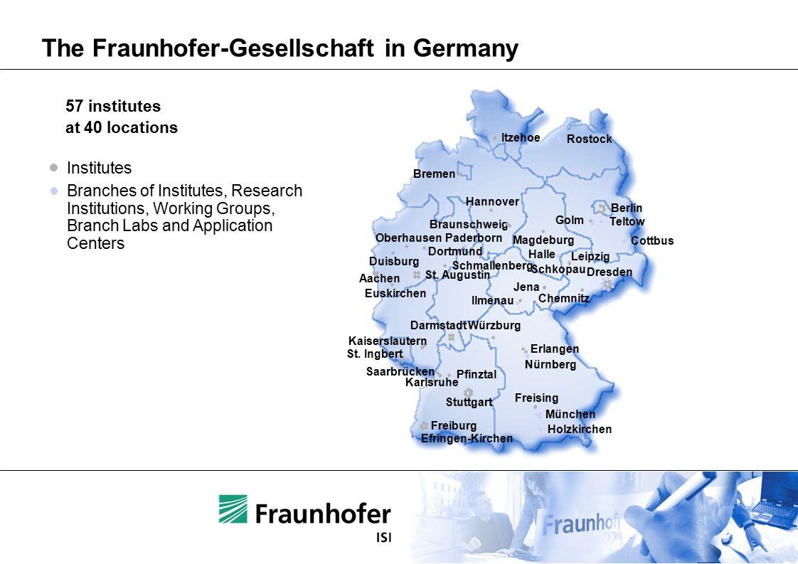 The Fraunhofer-Gesellschaft in Germany Itzehoe Berlin Golm Magdeburg Hannover Braunschweig Bremen Oberhausen Dortmund Duisburg Aachen Euskirchen Schmallenberg St.