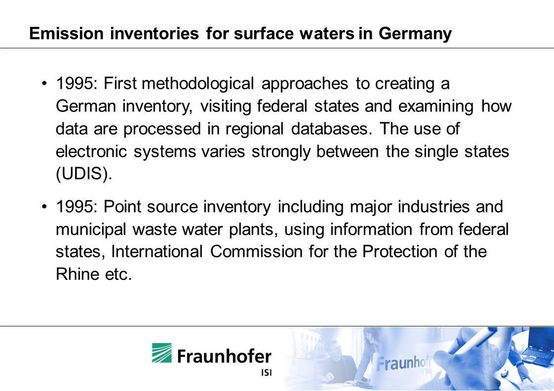 Emission inventories for surface waters in Germany 1995: First methodological approaches to creating a German inventory, visiting federal states and examining how data are processed in regional databases.