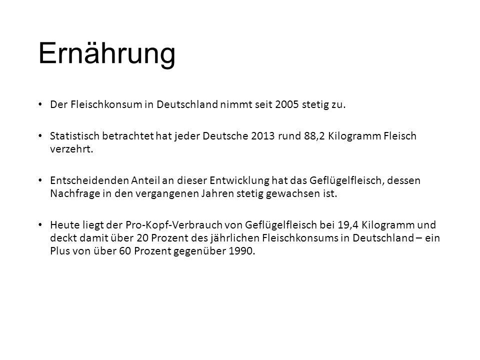 Ernährung Der Fleischkonsum in Deutschland nimmt seit 2005 stetig zu.