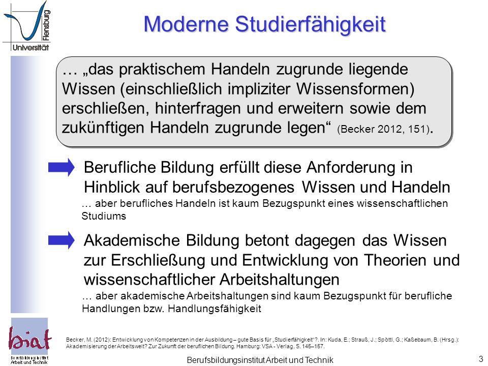 """3 Berufsbildungsinstitut Arbeit und Technik Moderne Studierfähigkeit … """"das praktischem Handeln zugrunde liegende Wissen (einschließlich impliziter Wissensformen) erschließen, hinterfragen und erweitern sowie dem zukünftigen Handeln zugrunde legen (Becker 2012, 151)."""
