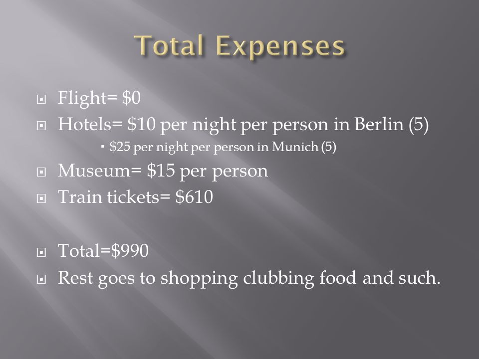  Flight= $0  Hotels= $10 per night per person in Berlin (5)  $25 per night per person in Munich (5)  Museum= $15 per person  Train tickets= $610  Total=$990  Rest goes to shopping clubbing food and such.