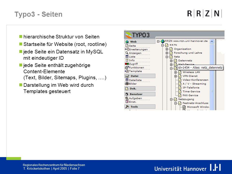 Regionales Rechenzentrum für Niedersachsen T. Kröckertskothen | April 2005 | Folie 7 Typo3 - Seiten hierarchische Struktur von Seiten Startseite für W