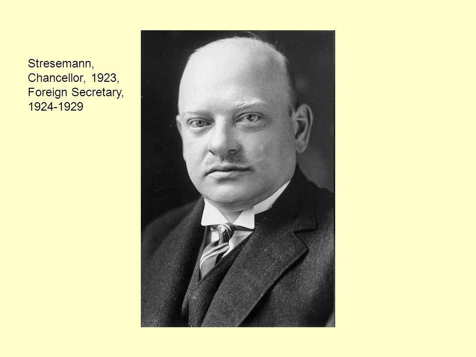 Stresemann, Chancellor, 1923, Foreign Secretary, 1924-1929