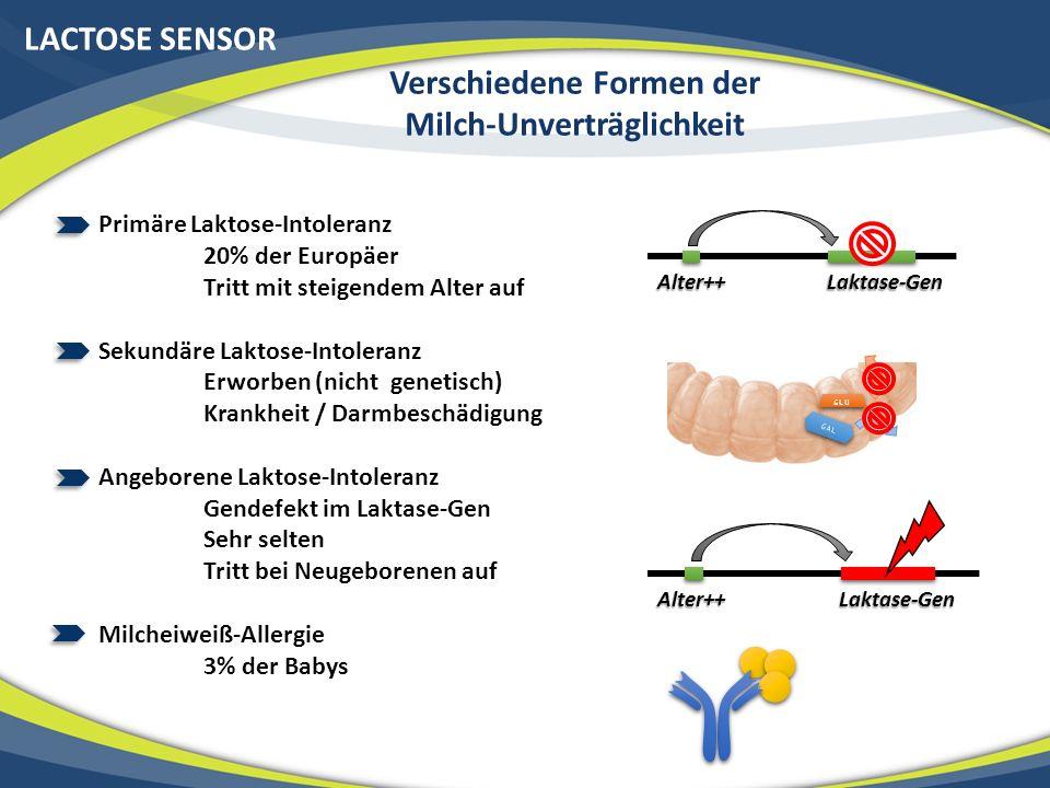 LACTOSE SENSOR Verschiedene Formen der Milch-Unverträglichkeit Laktase-GenAlter++ Primäre Laktose-Intoleranz 20% der Europäer Tritt mit steigendem Alt