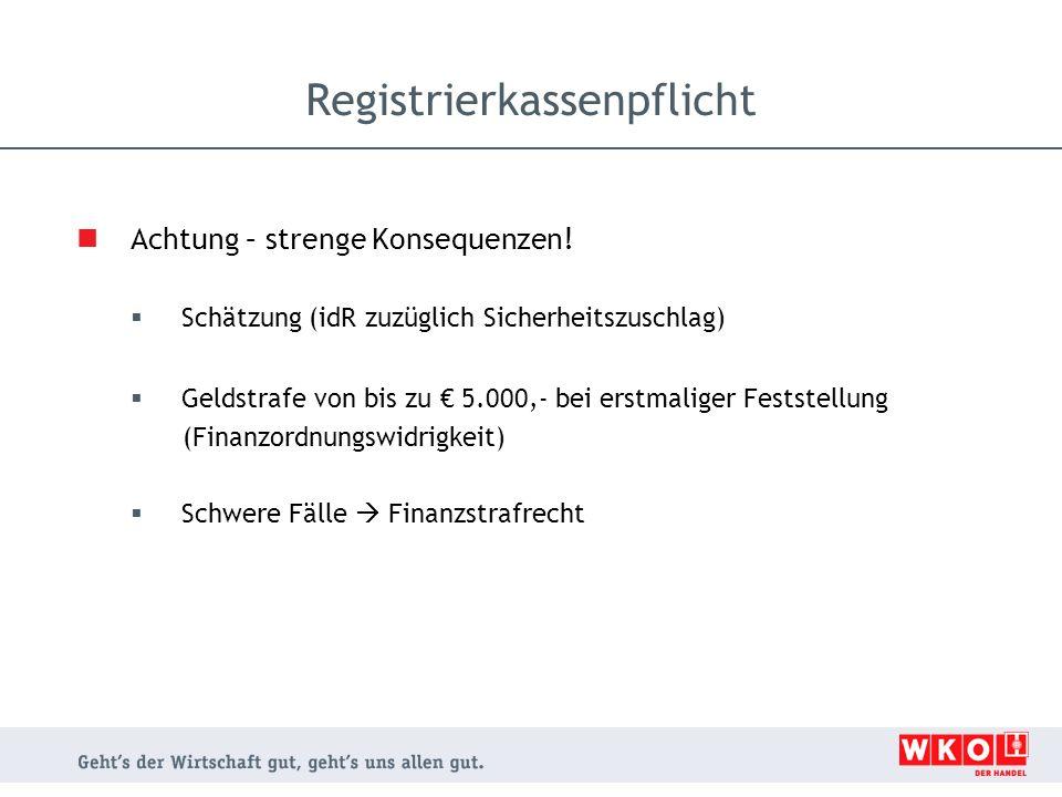 Achtung – strenge Konsequenzen!  Schätzung (idR zuzüglich Sicherheitszuschlag)  Geldstrafe von bis zu € 5.000,- bei erstmaliger Feststellung (Finanz