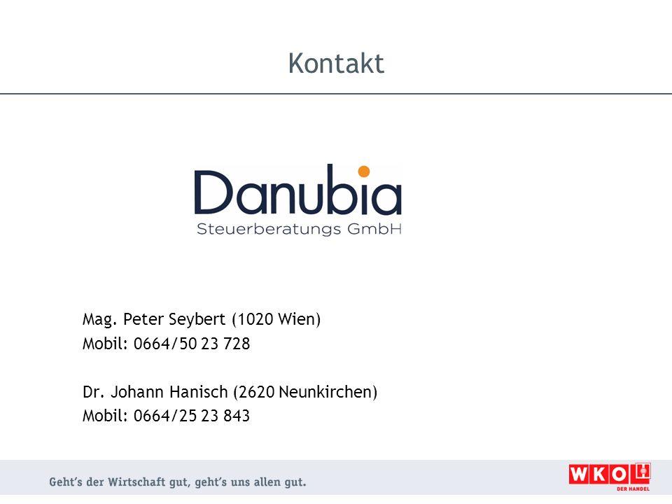 Mag. Peter Seybert (1020 Wien) Mobil: 0664/50 23 728 Dr. Johann Hanisch (2620 Neunkirchen) Mobil: 0664/25 23 843 Kontakt