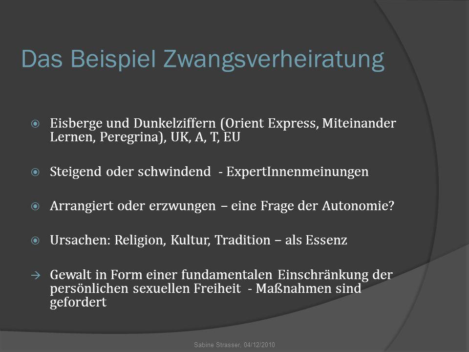 Das Beispiel Zwangsverheiratung  Eisberge und Dunkelziffern (Orient Express, Miteinander Lernen, Peregrina), UK, A, T, EU  Steigend oder schwindend