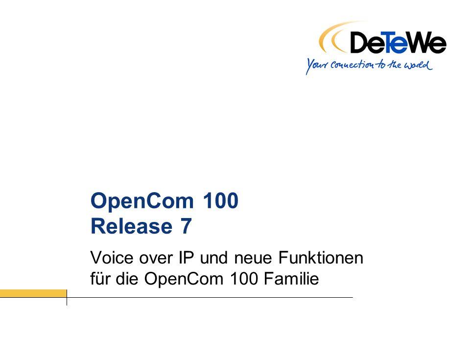 TM M – 02.20052 VoIP und Release 7 – OC 100 Release 7.0 – OpenCom 100 Offline-Programmierung Unterstützung für: OC107 / OC130,131,150 / OC510 Highlights: Vorkonfiguration des Systems unabhängig vom Kundenstandort Schnelle Inbetriebnahme beim Kunden (kurze Ausfallzeiten) Überprüfung der Kunden–Einstellungen Offline CLIP etc.