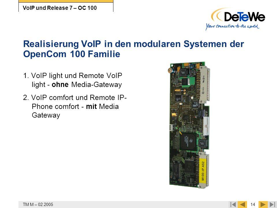 TM M – 02.200514 VoIP und Release 7 – OC 100 Realisierung VoIP in den modularen Systemen der OpenCom 100 Familie 1. VoIP light und Remote VoIP light -