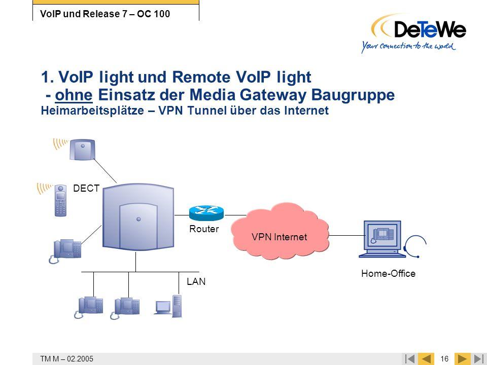 TM M – 02.200516 VoIP und Release 7 – OC 100 1. VoIP light und Remote VoIP light - ohne Einsatz der Media Gateway Baugruppe Heimarbeitsplätze – VPN Tu