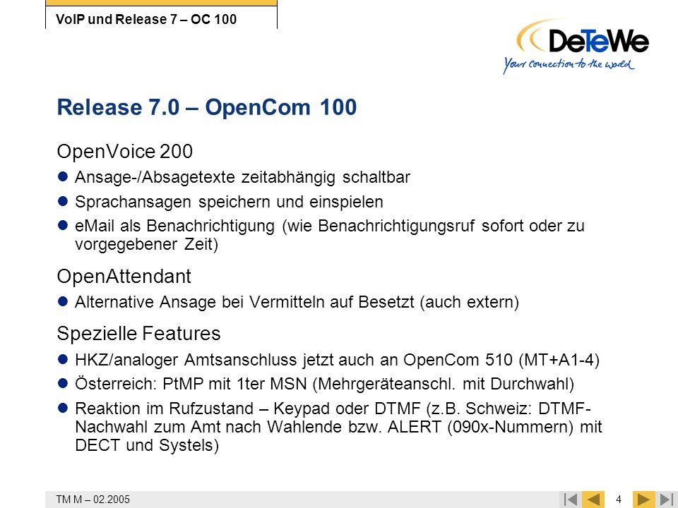 TM M – 02.20054 VoIP und Release 7 – OC 100 Release 7.0 – OpenCom 100 OpenVoice 200 Ansage-/Absagetexte zeitabhängig schaltbar Sprachansagen speichern