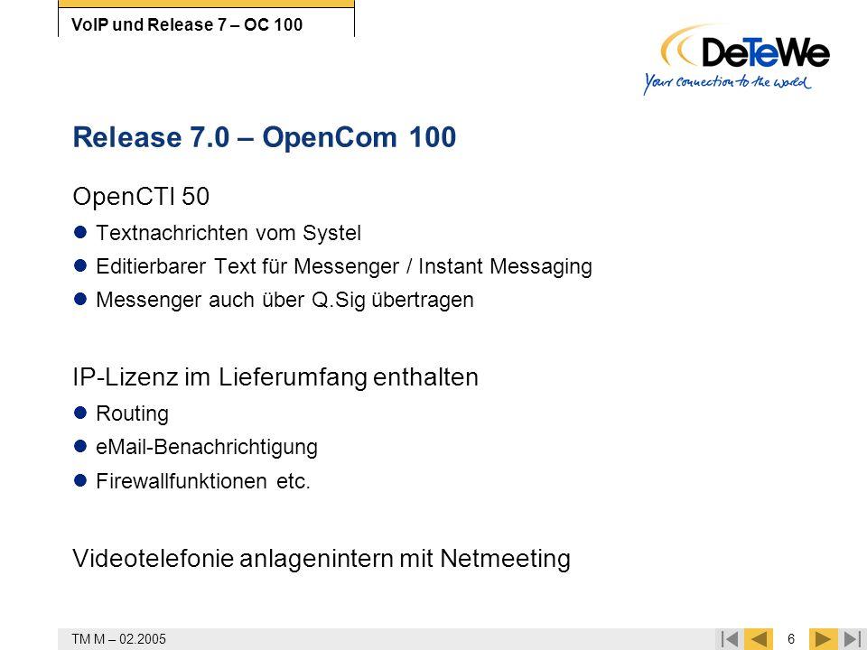 TM M – 02.20056 VoIP und Release 7 – OC 100 Release 7.0 – OpenCom 100 OpenCTI 50 Textnachrichten vom Systel Editierbarer Text für Messenger / Instant