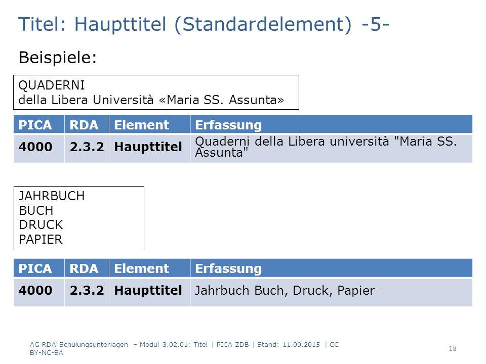 Titel: Haupttitel (Standardelement) -5- Beispiele: QUADERNI della Libera Università «Maria SS. Assunta» PICARDAElementErfassung 40002.3.2Haupttitel Qu