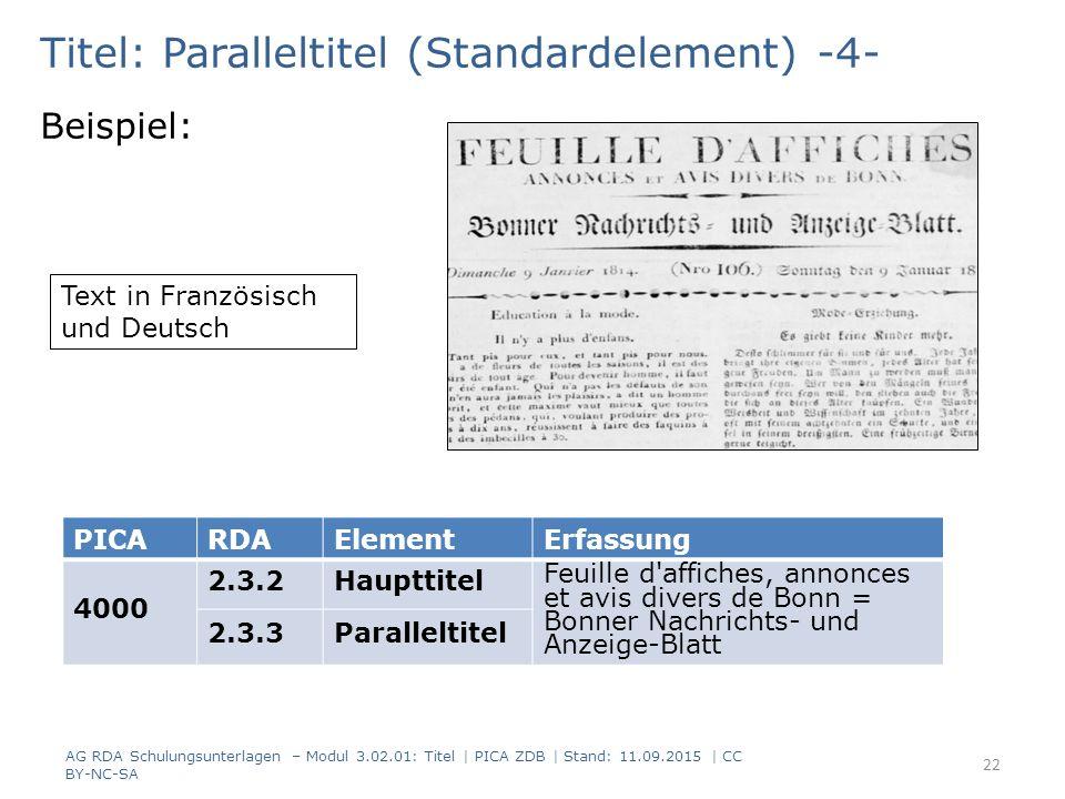 Titel: Paralleltitel (Standardelement) -4- Beispiel: PICARDAElementErfassung 4000 2.3.2Haupttitel Feuille d'affiches, annonces et avis divers de Bonn