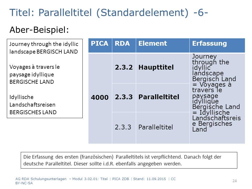 Titel: Paralleltitel (Standardelement) -6- Aber-Beispiel: PICARDAElementErfassung 4000 2.3.2Haupttitel Journey through the idyllic landscape Bergisch