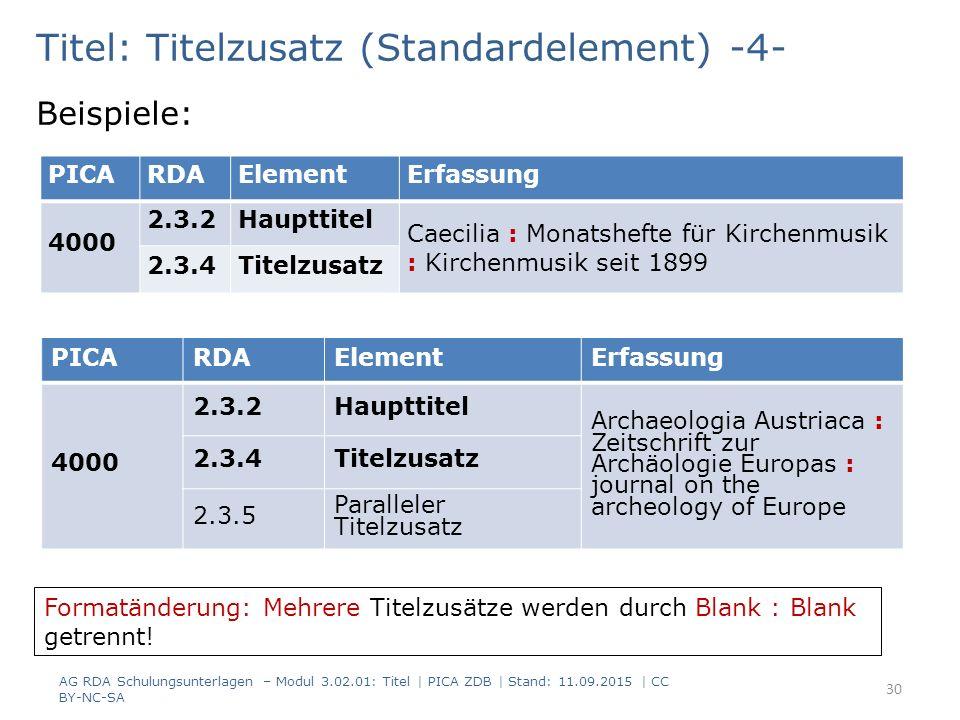 Titel: Titelzusatz (Standardelement) -4- Beispiele: PICARDAElementErfassung 4000 2.3.2Haupttitel Archaeologia Austriaca : Zeitschrift zur Archäologie