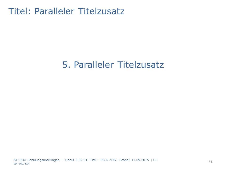 Titel: Paralleler Titelzusatz 5. Paralleler Titelzusatz AG RDA Schulungsunterlagen – Modul 3.02.01: Titel | PICA ZDB | Stand: 11.09.2015 | CC BY-NC-SA