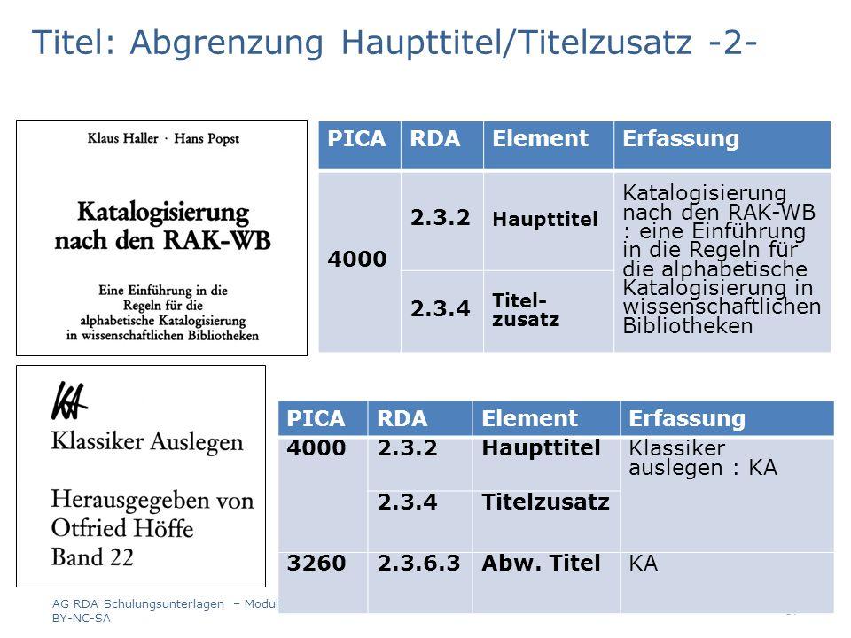 Titel: Abgrenzung Haupttitel/Titelzusatz -2- PICARDAElementErfassung 4000 2.3.2 Haupttitel Katalogisierung nach den RAK-WB : eine Einführung in die Re