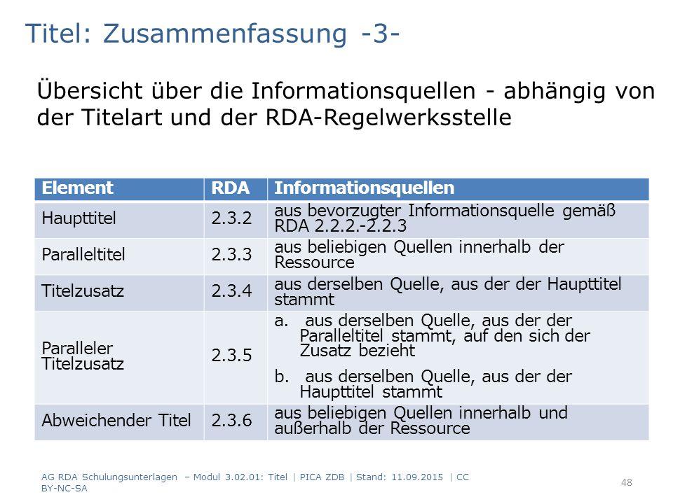 Titel: Zusammenfassung -3- Übersicht über die Informationsquellen - abhängig von der Titelart und der RDA-Regelwerksstelle ElementRDAInformationsquell