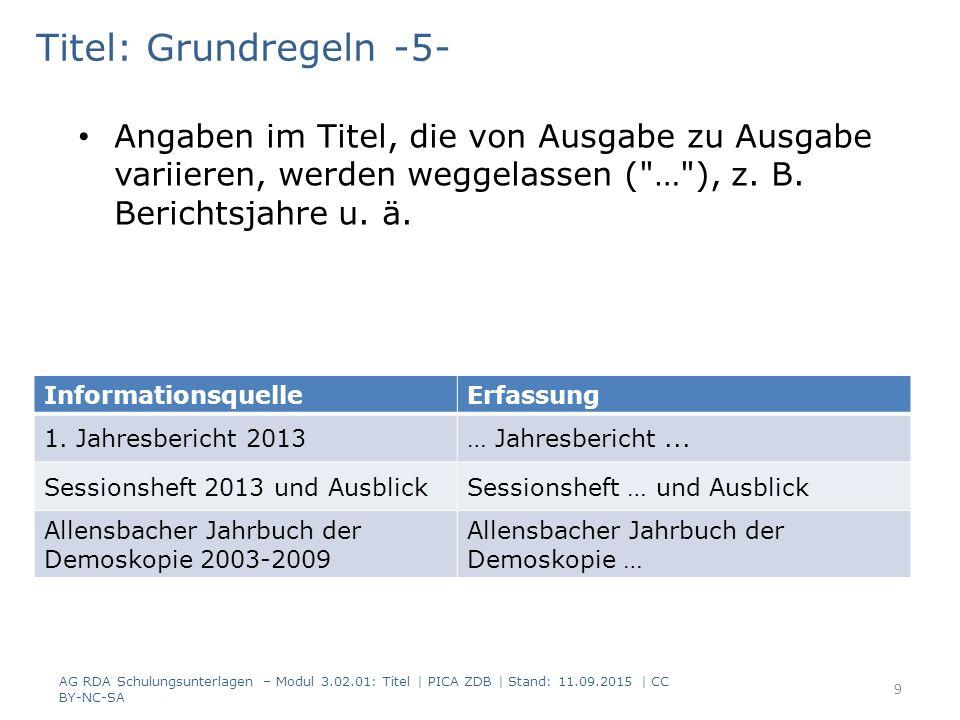 Titel: Grundregeln -5- Angaben im Titel, die von Ausgabe zu Ausgabe variieren, werden weggelassen (
