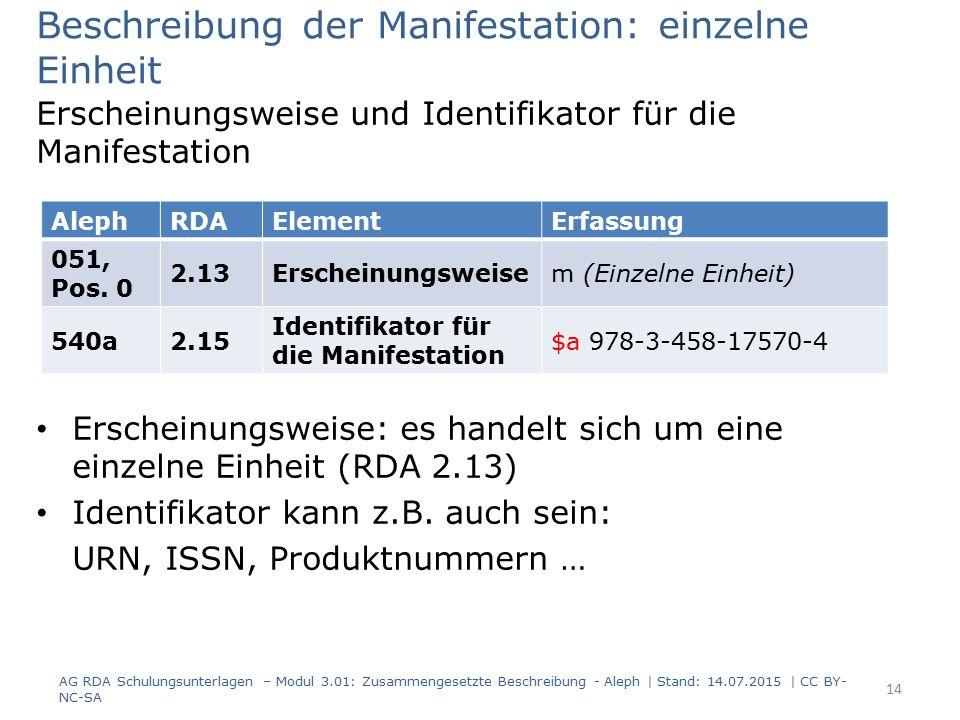 Beschreibung der Manifestation: einzelne Einheit Erscheinungsweise und Identifikator für die Manifestation Erscheinungsweise: es handelt sich um eine