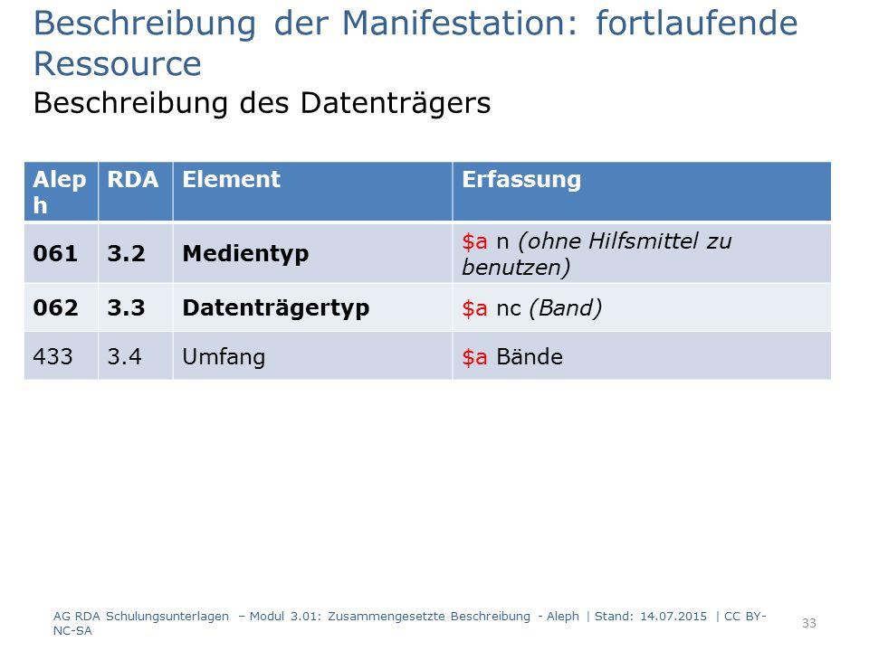 Beschreibung der Manifestation: fortlaufende Ressource Beschreibung des Datenträgers Alep h RDAElementErfassung 0613.2Medientyp $a n (ohne Hilfsmittel