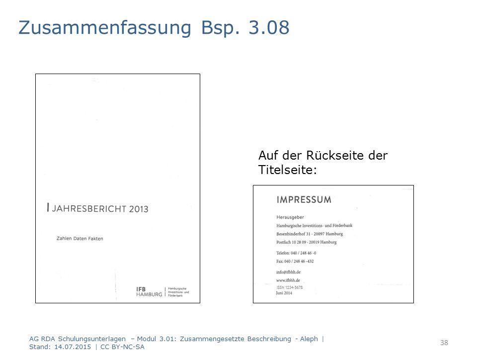 Zusammenfassung Bsp. 3.08 Auf der Rückseite der Titelseite: ISSN 1234-5678 AG RDA Schulungsunterlagen – Modul 3.01: Zusammengesetzte Beschreibung - Al