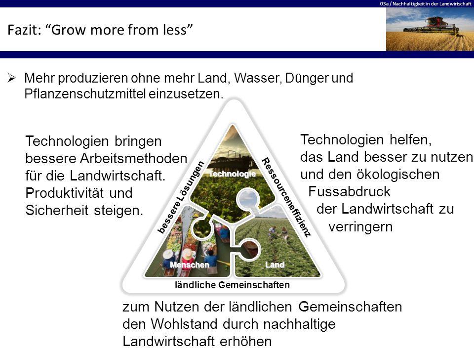 """03a / Nachhaltigkeit in der Landwirtschaft Fazit: """"Grow more from less"""" bessere Lösungen Ressourceneffizienz ländliche Gemeinschaften LandMenschen Tec"""