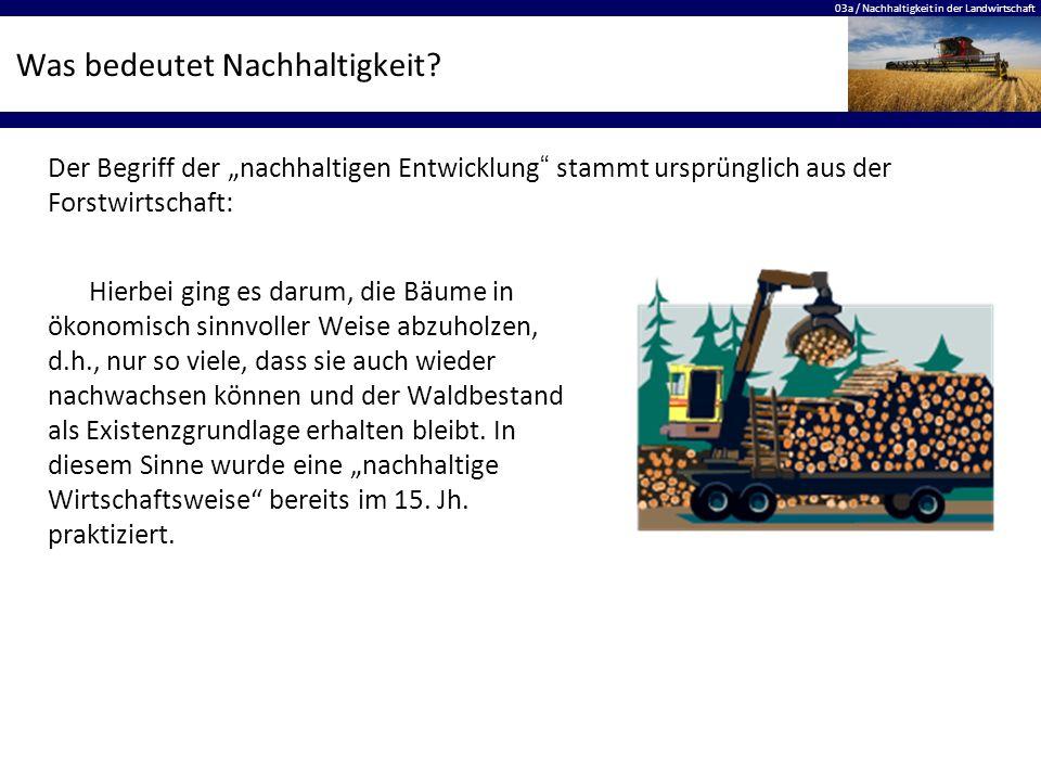 03a / Nachhaltigkeit in der Landwirtschaft Was bedeutet Nachhaltigkeit? Hierbei ging es darum, die Bäume in ökonomisch sinnvoller Weise abzuholzen, d.