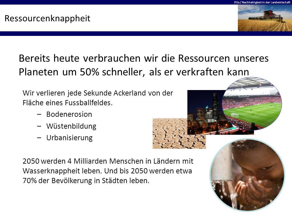 03a / Nachhaltigkeit in der Landwirtschaft Ressourcenknappheit Bereits heute verbrauchen wir die Ressourcen unseres Planeten um 50% schneller, als er