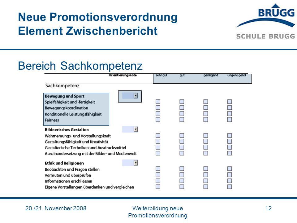 20./21. November 2008Weiterbildung neue Promotionsverordnung 12 Neue Promotionsverordnung Element Zwischenbericht Bereich Sachkompetenz