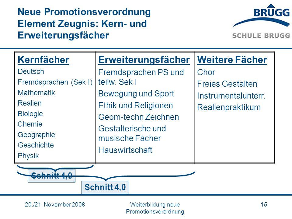 20./21. November 2008Weiterbildung neue Promotionsverordnung 15 Neue Promotionsverordnung Element Zeugnis: Kern- und Erweiterungsfächer Kernfächer Deu