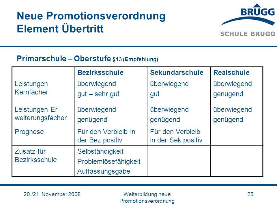 20./21. November 2008Weiterbildung neue Promotionsverordnung 25 Neue Promotionsverordnung Element Übertritt Primarschule – Oberstufe §13 (Empfehlung)