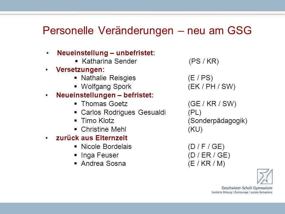 Personelle Veränderungen – neu am GSG Neueinstellung – unbefristet:  Katharina Sender(PS / KR) Versetzungen:  Nathalie Reisgies(E / PS)  Wolfgang S