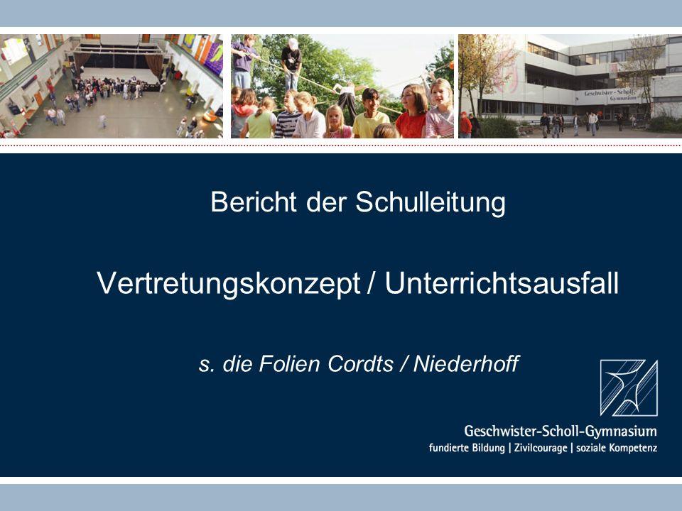Bericht der Schulleitung Vertretungskonzept / Unterrichtsausfall s. die Folien Cordts / Niederhoff