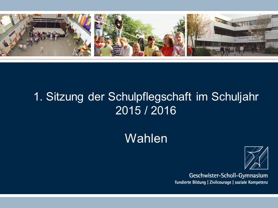 1. Sitzung der Schulpflegschaft im Schuljahr 2015 / 2016 Wahlen
