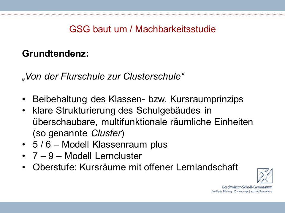 """GSG baut um / Machbarkeitsstudie Grundtendenz: """"Von der Flurschule zur Clusterschule"""" Beibehaltung des Klassen- bzw. Kursraumprinzips klare Strukturie"""