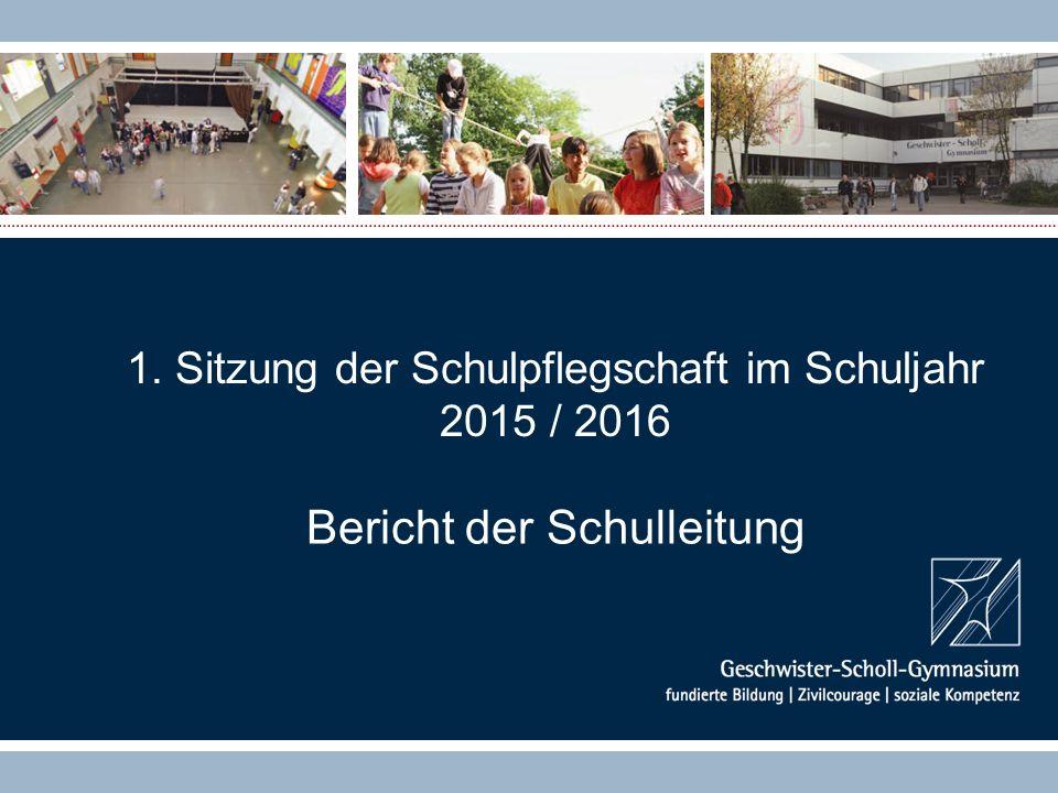 1. Sitzung der Schulpflegschaft im Schuljahr 2015 / 2016 Bericht der Schulleitung